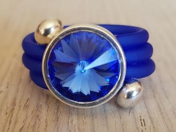 Spiral-Ring mit CRYSTALLIZED™ Swarovski Elements Rivoli in glitzerndem Saphirblau und Silber