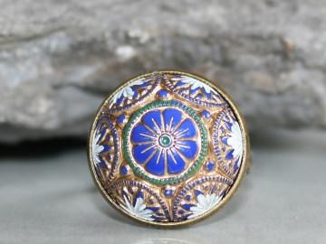 Ring blumig bemalt in Blau, Gold, Weiß und Grün - Romantischer Vintage-Look
