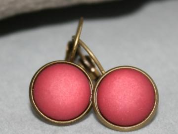 Polaris-Ohrringe in schönem Weinrot und bronzefarbener Fassung