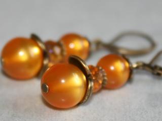 Ohrhänger (Brisuren) - orange glänzend - Verspielt im Vintage-Look