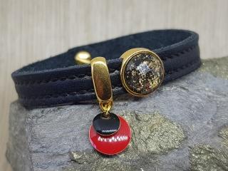 Leder Armband mit vergoldeten Schiebeperlen - Elegant und lässig - Handarbeit kaufen