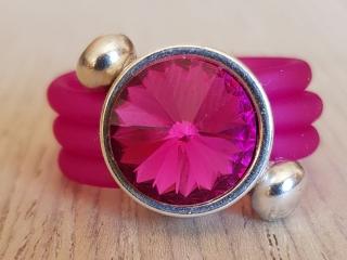 Spiral-Ring mit CRYSTALLIZED™ Swarovski Elements Rivoli in glitzerndem Pink und Silber