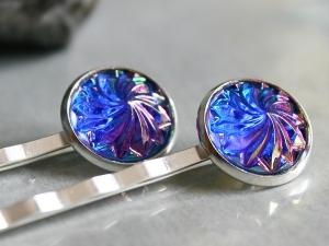 Zwei Stück Haarnadeln - schimmernd in Blau und Violett - Handarbeit kaufen