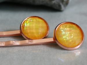 Zwei Stück Haarnadeln in Roségold - Gelb foliert - Handarbeit kaufen
