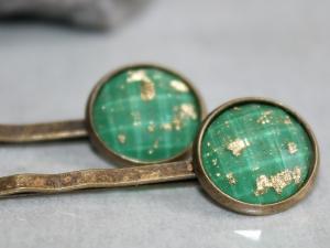 Ein Set Haarnadeln (2 Stück) in Grün und Gold - Handarbeit kaufen