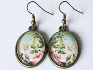 Ohrhänger mit Motiv - Rosen und Schmetterling - Vintage Style - Handarbeit kaufen