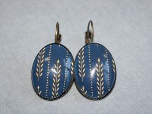 Ohrringe (Brisuren) mit Muster in Blau und Beige - Handarbeit kaufen