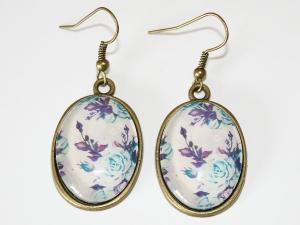 Ohrhänger mit Motiv - Vintage Rose - Lila Türkis - Handarbeit kaufen