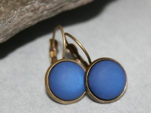 Basic Ohrringe (Brisuren) mit blauem Schmuckstein - Handarbeit kaufen