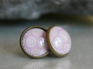 Ohrstecker mit süßem Pünktchen-Muster in dezenten Farben - Handarbeit kaufen