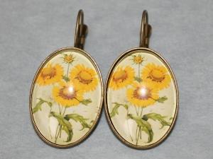 Ohrringe mit Motiv - Sonnenblumen - Gelb, Grün - Handarbeit kaufen