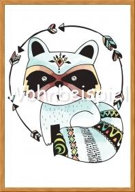 Wandbild Kunstdruck Dachs Indianer Kunstdruck Kinderzimmer Poster A4
