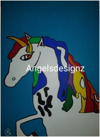 Pop Art Acrylbild Moderne Kunst Malerei auf Leinwand Bild Handsigniert Original