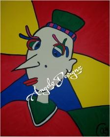 Pop Art Acrylbild Moderne Kunst Malerei auf Leinwand Bild Handsigniert Portrait