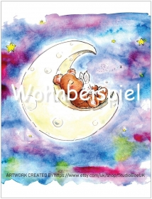 Wandbild Kunstdruck Best Friends for ever Kunstdruck Kinderzimmer Poster A4