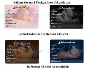 Geburtsurkunde für Künstler Artisten Reborn Puppen Handarbeit