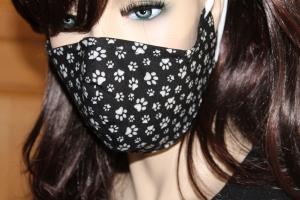 Gesichtsmaske/ Mund-Nasen-Maske/ Baumwolle/ 2-lagig/ waschbar 60 Grad/ Behelfsmaske/ Mundbedeckung/ Nasendraht ♡ PFÖTCHEN ♡