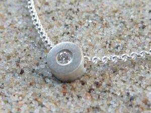 Anhänger mit Diamant/Brillant & Kette, Silber 925