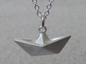 Schiffchen Faltschiffchen Anhänger Silber 925, ohne Kette