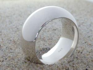 Ring, breit & schwer, halbrund, Silber 925