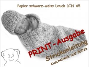 Strickanleitung, Baby Kuschelsack und Mütze selber stricken, Anleitung gedruckt DIN A5