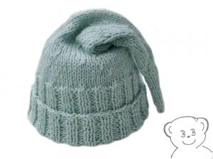 Zipfelmütze [Farbe EISBLAU] gestrickt für Neugeborene, Größe KU 35-40 cm