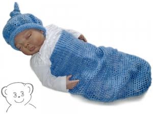 Baby Kuschelsack und Mütze [Farbe BLAU MELIERT] sommerliches Set gehäkelt - Handarbeit kaufen
