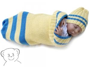 Baby Kuschelsack und Mütze [Farbe GELB-BLAU] gestreift, gestrickt - Handarbeit kaufen