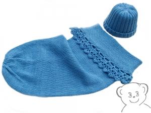 Baby Kuschelsack und Mütze [Farbe BLAU] sommerliches Set für Neugeborene, gestrickt