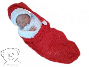 Weihnachten mit Baby Kuschelsack und Mütze, Design WeihnachtsCocoon [Farbe ROT-WEISS] gehäkelt für Babyfotografie - Handarbeit kaufen