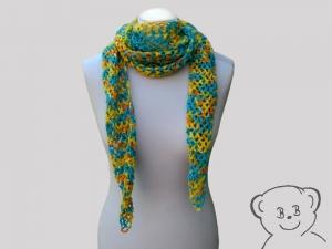 Schal Netzoptik gehäkelt [Farbe BUNT] kräftige Farben hoher Wollanteil - Handarbeit kaufen