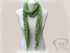 Schal Netzoptik gehäkelt [Farbe GRÜN] grün-braun, hoher Wollanteil