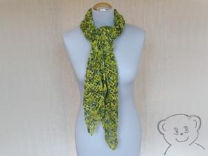 Schal Netzoptik gehäkelt [Farbe GRÜN-GELB] grün-gelb-natur, hoher Wollanteil