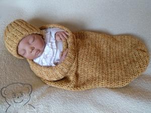 Baby Kuschelsack und Mütze [Farbe ANANAS] gestrickt und ♥ gehäkelt ☀