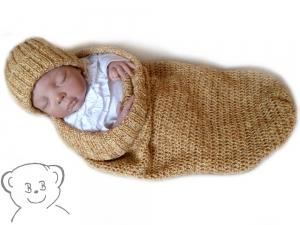 Baby Kuschelsack und Mütze [Farbe ANANAS] gestrickt und gehäkelt