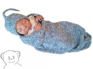 Baby Kuschelsack und Mütze [Farbe HELLBLAU-WEISS] gestrickt - Handarbeit kaufen