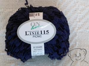 50g Effekt-Garn, Leitergarn (Grundpreis:100g/6.00€) ONlinie 115 PICNIC, Farbe marine dunkelblau - Handarbeit kaufen