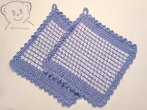 Topflappen [Farbe HELLBLAU-WEISS] gehäkelt, 100% Baumwolle - Handarbeit kaufen