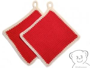 Topflappen [Farbe ROT-WEISS] gehäkelt, 100% Baumwolle - Handarbeit kaufen