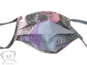 Mund-Nasen-Bedeckung, Behelfsmaske, Farbe [Bunt-Flieder], waschbar, 100% Baumwolle