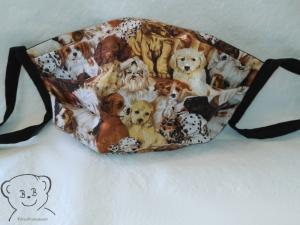 Mund-Nasen-Abdeckung, Behelfsmaske, Muster [Hunde und Schwarz uni], zweilagig, waschbar, 100% Baumwolle