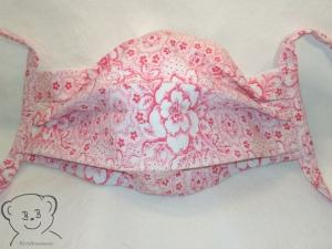 Mund-Nasen-Bedeckung, Behelfsmaske, Muster [Blumen rot-weiß und weiß uni], zweilagig, waschbar, 100% Baumwolle
