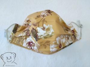 Mund-Nasen-Bedeckung, Behelfsmaske, Muster [Rosen/senf und weiß uni], zweilagig, waschbar, mit Gummiband
