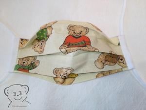 Mund-Nasen-Bedeckung, Behelfsmaske, Muster [Bärchen und flieder uni], zweilagig, waschbar, mit Gummiband - Handarbeit kaufen