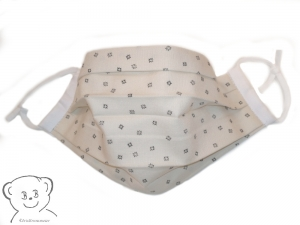 Mund-Nasen-Bedeckung, Behelfsmaske, Muster [beige/braun und weiß uni], zweilagig, waschbar, Gummiband - Handarbeit kaufen