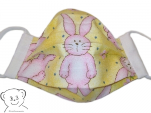 Kinder Mund-Nasen-Bedeckung, Behelfsmaske, Muster Hase, zweilagig, waschbar, mit Gummiband - Handarbeit kaufen