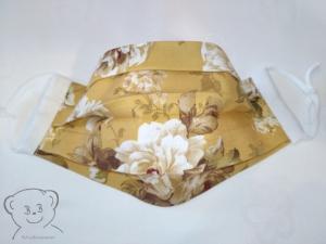 Mund-Nasen-Bedeckung, Behelfsmaske, Muster [Rosen/senf und weiß uni], zweilagig, waschbar, mit Gummiband - Handarbeit kaufen