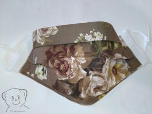 Mund-Nasen-Bedeckung, Behelfsmaske, Muster [Rosen/graubraun und weiß uni], zweilagig, waschbar, mit Gummiband