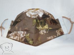 Mund-Nasen-Bedeckung, Behelfsmaske, Muster [Rosen/graubraun und weiß uni], zweilagig, waschbar, mit Gummiband - Handarbeit kaufen