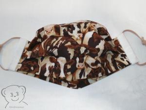 Mund-Nasen-Bedeckung, Behelfsmaske, Muster [Kühe und weiß uni], zweilagig, waschbar, mit Gummiband